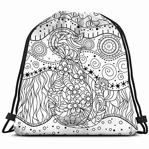 animals wildlife adult nature Drawstring Backpack Gym Sack Lightweight Bag Water Resistant Gym Backpack for Women&Men for Sports,Travelling,Hiking,Camping,Shopping Yoga ()