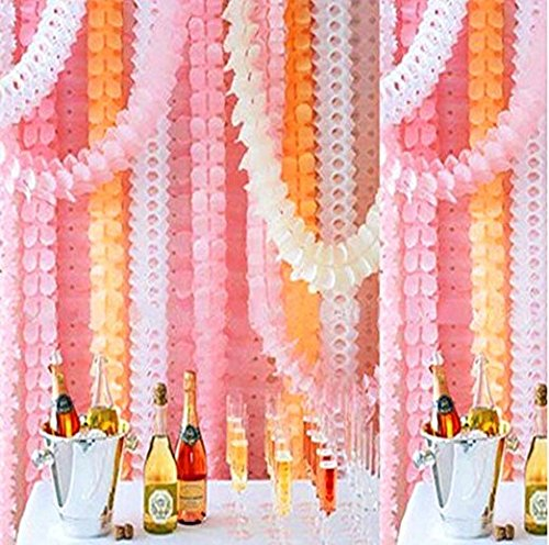 ty Luftschlangen, merrynine Kleeblatt Papier Blume Girlande für Party, Hochzeit Dekoration, 30cm Füße/3,6M, je 6Stück (pink-white-orange) (Welcome-party Dekorationen)