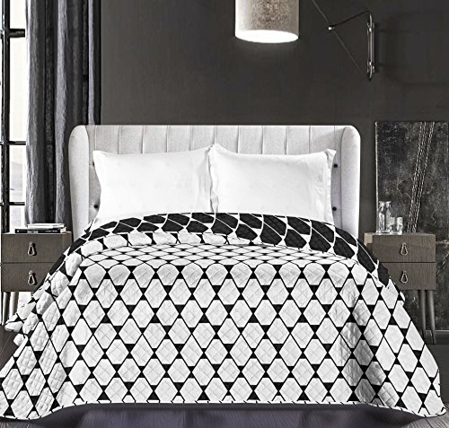 DecoKing Bedspread Black White Bedspread Double Sided Easy Care Geometric Black White Hypnosis Collection Rhombuses, Polyester, black white, 220 x 240 cm