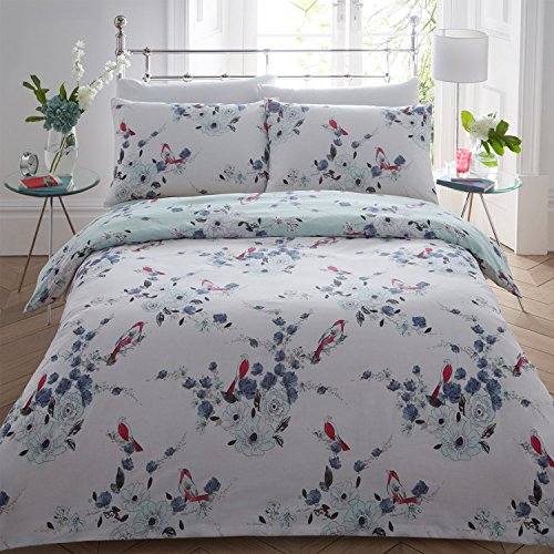 weißlinge Aqua Blau & Schwarz Rot Beautiful Love Birds Bettwäscheset, Bettbezug und Kissenbezug Reverse Floral Single Double King, Birds Aqua Blue, Einzelbett (Aqua King-size-bettwäsche)