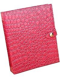 unionplus Croco Piel Sintética 4-page Pendientes Organizador Libro, Roseo, large