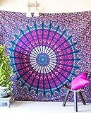 folkulture Pfau Parade Bohemian Tapisserie Hippie, Indian Mandala Wandbehang Tagesdecke für Schlafzimmer, blau Bettwäsche Decke oder College Wohnheim Room Art Décor, Queen Size Baumwolle pink violett Boho verteilt