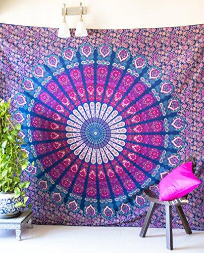folkulture pavone Parade Blu Arazzo da parete per Bohemian Hippie, Spiaggia o copriletto, indiano Hippy Mandala per stanza da letto, Queen Size Intricate Psychedelic Boho Spread