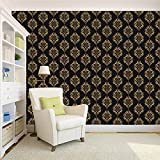 Wallpaper | Paisley Theme Black Printed Peel and Stick Decor wall paper home decor (Self Adhesive) wall paper –Ideal For Room Café & Office- 5.5 SqFt