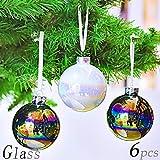 Valery Madelyn 6 Stücke 8CM Weihnachtskugeln Glas Bunte Glänzende Christbaumkugeln mit Aufhänger Weihnachtsbaumschmuck Weihnachten Dekoration