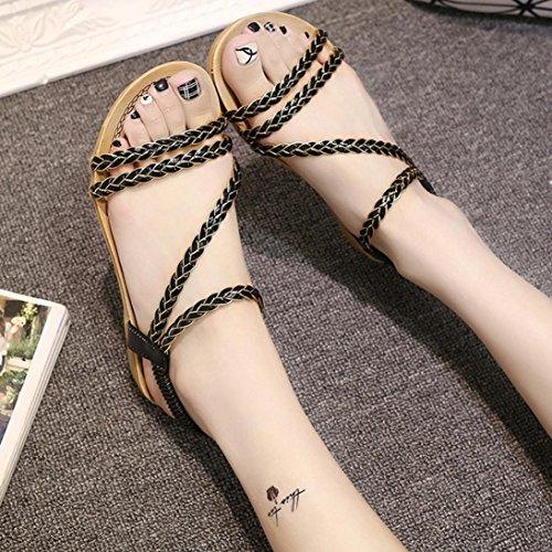 Omiky® Frauen Sommer Weave Sandalen Home Sandalen Strand flache Schuhe Schwarz