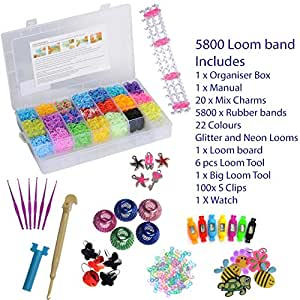 LOOM BANDS BOX SET INCLUDES BOX AND ALL LOOM TOOLS CHARMS & 5800 LOOM BANDS