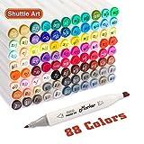Shuttle Art 88 Couleurs Marqueurs d'art à Deux Pointes, stylos à marqueur Permanent Surligneurs avec étui Parfait pour l'illustration Coloriage pour Adultes Croquis et Fabrication de Cartes