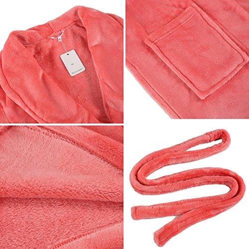 Ekouaer Damen Flanel Anzug Nachtwäsche Lang Schlafanzug für Herbst Winter Wassermelon Rot