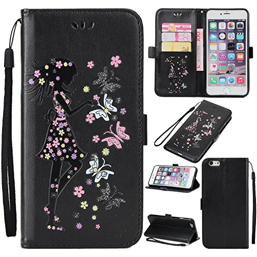 EKINHUI Case Cover Fairy Girl & Flowers Embossing Pattern PU Ledertasche Horizontale Flip Stand Brieftasche Tasche mit Lanyard & Card Slots für iPhone 6 & 6s ( Color : Blue ) Black
