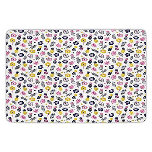 Outdoor-reversible Patio-mat (XIEXING Water Absorption Reactive Dyeing Durability Doormat Bathroom Bath Rug Kitchen Floor Mat Carpet,Navy and Blush,Tropical Nature Cute Pattern Hibiscus Pineapple Exotic Leaves Decorative,Pink YEL)