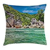 Tropical Throw Pillow Cushion Cover, Landscape of Island with Trees in Seychelles and The Sky Digital Print, Decorative Square Accent Pillow Case, 18 X 18 inches, Blue and Fern Green