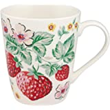 Cath Kidston Wild Strawberry Linen White - Bone China Stanley Shape Mug