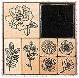 RICO DESIGN - Stempelset HYGGE, 7 Motive zum Bedrucken und Basteln (Blumen)