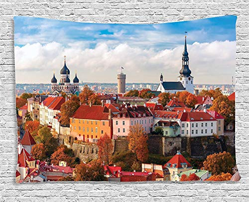 Tapisserie Wandbehang Wandteppiche Wanderlust Decor Collection Toompea Hill with Tower Pikk Hermann Cathedral Church of Saint Mary Toomkirik Bedroom Living Room Wall Hanging Tapestry 60W X 50L Inch -