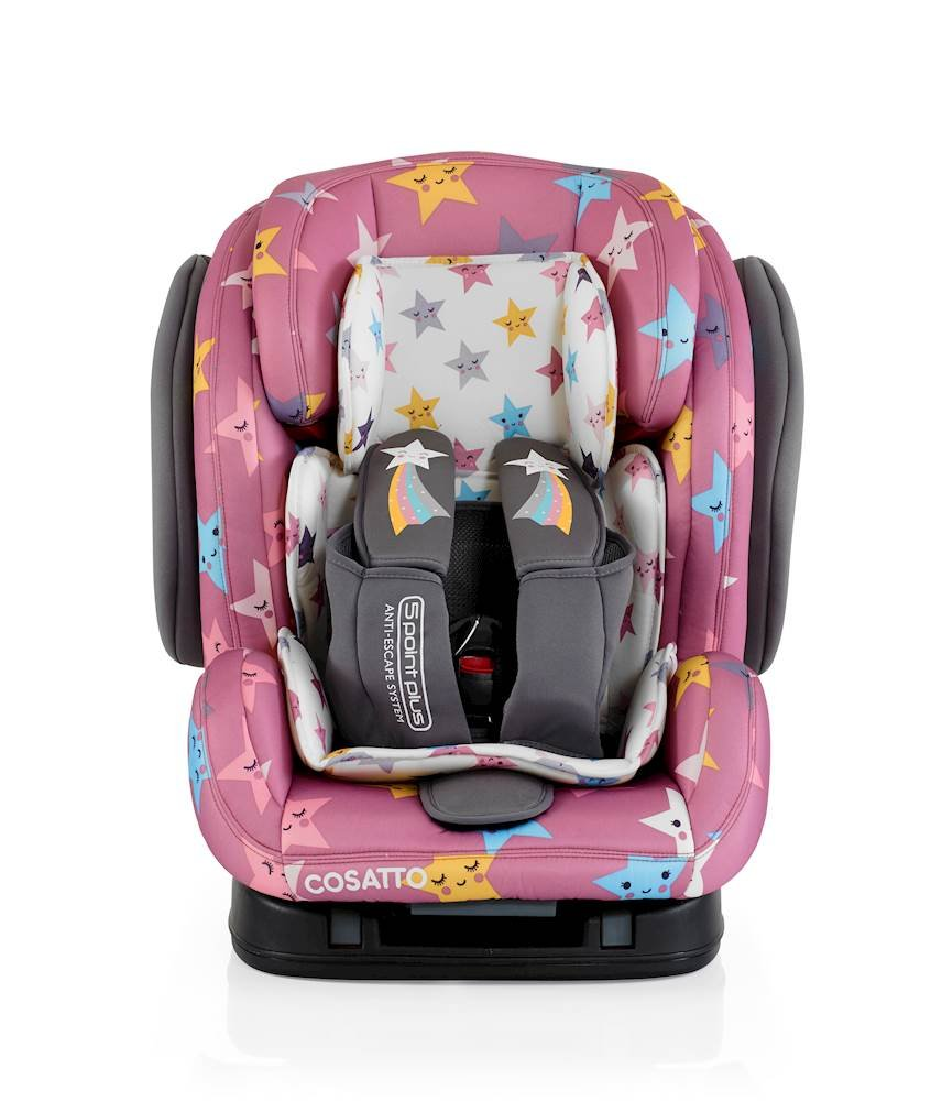 Cosatto Hug Isofix Car Seat Group 123, 9-36 kg, Happy Stars Cosatto Suitable from 9 kg-36 kg (9 months - 12 years approximatelyimately), Hug ISOFIX is an investment; it fits forward-facing in most cars with standard ISOFIX connectors and top tether anchor point The exclusive Five Point Plus Anti-Escape system deters determined wrigglers and diminishes driver distraction; it features extra-cushioned side impact protection for in-car security Impact protection for in-car security Hug ISOFIX has fabrics, a height-adjustable headrest and reclining padded seat for on-board comfort, plus easy-clean pop-off covers and liner to help you out 1