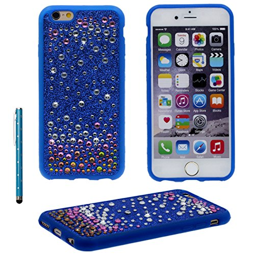 iPhone 6S ( Or ) Ultra Mince Fine Doux Plastique Bling Bling Strass Cristal - Anti choc Coque Case Etui Protection pour iPhone 6 / 6S (4.7 inch) Avec 1 stylet bleu
