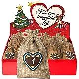 """24 Adventskalender Säckchen aus Jute (10 x 15 cm) - Beutelaufdruck """"24 Lebkuchenherz-Zahlen"""" bedruckt (für Erwachsene) - mit Adventsbox Love für Weihnachtskalender / Adventskalender zum Befüllen von Adventino"""
