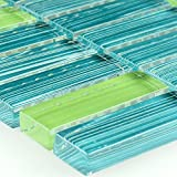 Gestreifte Kristall Glas Mosaik Fliese Grün Mix