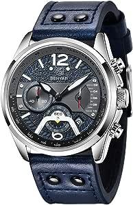 BY BENYAR Montre Homme Mode Étanche Sport Chronographe Quartz Mouvement Bracelet en Cuir 30 M Étanche Hommes Cadeau
