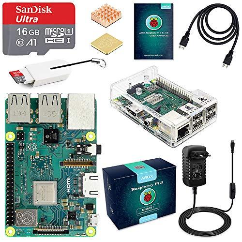 ABOX Raspberry Pi 3 B+ Starter Kit Scheda Madre con MicroSD Card 16GB, Custodia Trasparente, Alimentatore 5V 3A con Interruttore, Cavo HDMI e Lettore Schede di Memoria Micro SD