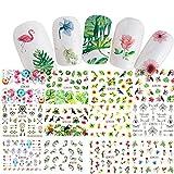 Saint-Acior Lot de 12 pc Stickers Ongle Autocollants à Ongles Nail Art Design Fleur Nail Art Sticker Autocollant D'astuce pour la Décoration des Ongles