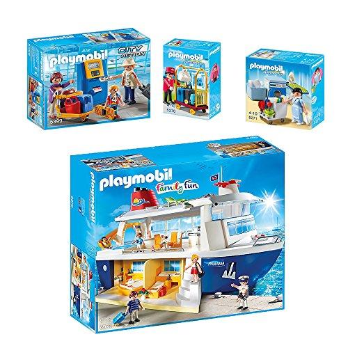 Preisvergleich Produktbild PLAYMOBIL® Family Fun 4er Set 6978 5399 5270 5271 Kreuzfahrtschiff + Familie am Check-in Automat + Gepackservice + Reinigungsservice
