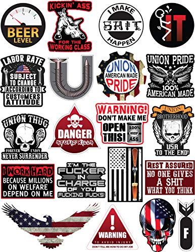 Aufkleber für Hut und Werkzeugkiste, Vinyl, für Erwachsene, lustige Aufkleber für Hardhut, Bau, Union Oilfield, Elektriker, Eisenarbeiter, Mechanik, Schweißen, amerikanische Flagge, 20 Stück