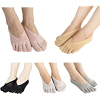 Domeilleur Fashion Women's Toe Socks Ultra Low Cut Liner with Gel Tab Breathable Cloth, Orthopedic Compression…