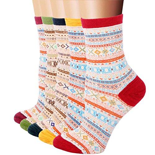 RioRiva Paar Damen Mädchen Socken Sport Freizeit Strümpfe mit Komfortbund Mehrfarbig Bunt Motiv (EU 35.5-40/US 5-9, WSK36)