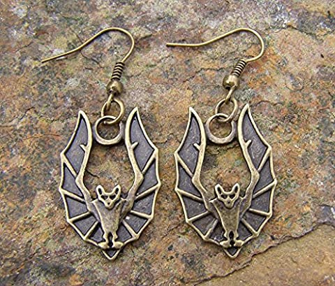 Vampire Bat earrings, Bronze Colour Charm and Hooks Steampunk Style