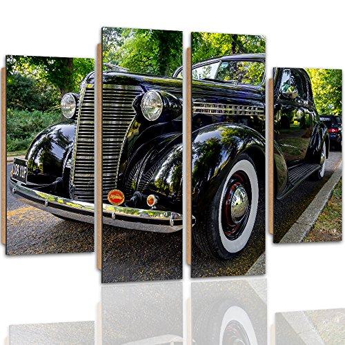 Feeby Frames, Cuadro de pared - 4 partes - Cuadro decorativo, Cuadro impreso, Cuadro Deco Panel, Tipo B, 120x80 cm, COCHE, COCHE VIEJO, CARRETERA, MOTORIZACIÓN,