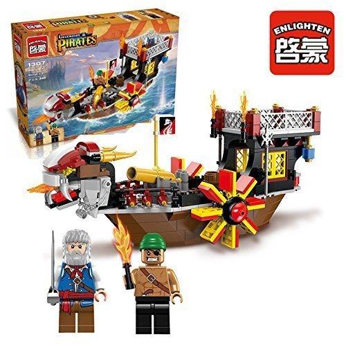 Ingenious Toys pirates rad boot mit cannon & 2 minifiguren / 345 teile passend bauklötze #1307 (Rad Boot)