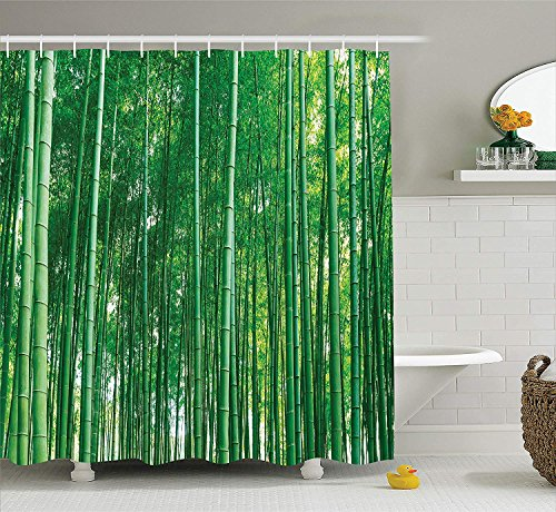 JIEKEIO Bamboo House Decor Shower Curtain Set by, Bamboo Forest with Fresh Vibrant Colors Tall Long Life Growth Deepness Symbol Zen Photo, Bathroom Accessories,60 * 72inch Inches, Green (Color Kids Zen)