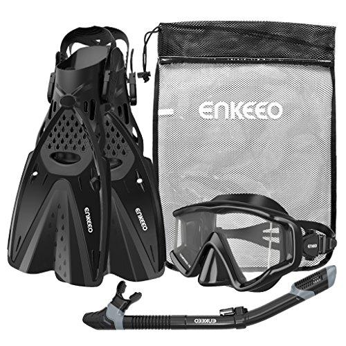 ENKEEO Schnorchelset 3-in-1 Tauchmaske Anti-Fog Weitwinkel-Tauchbrille, trockenen Atemschlauch, Profi Flossen und Netzbeutel, Schwarz (L/XL)