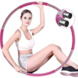 Braoses Gewogen Hula hoepels voor volwassenen oefening, 8 sectie, afneembare fitness hula hoepel ring met stabiele roestvrijs