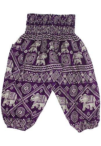 Lofbaz Niños Pantalones Harem Gphsy patrón del elefante Hippy Morado Talla 2T