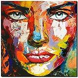 KUNST DRUCK Gemälde Leinwand modern abstrakt Bild 846 Portrait SIGNIERT 100x100