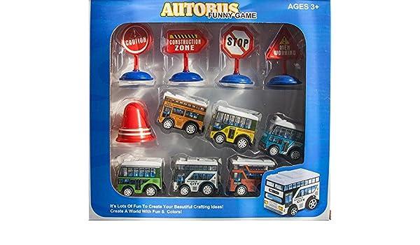 Business & Industrie 11 tlg Autobusset in Geschenkverpackung Friktionsantrieb Auto Bus Zubehör Box