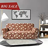 CHUN YI Printed Sofa Covers 1-Piece Polyester Spandex Fabric Stretch Slipcovers (Loveseat, Coffee Flower)