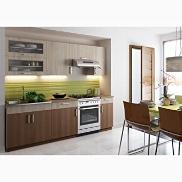 JUSTyou Blanka Küchenzeile Küchenblock Küche Farbe: Sonoma Eiche / Zimt  Akatzie
