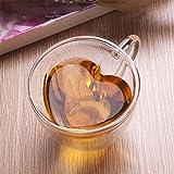 Kicode Double couche de paroi Tasse à thé en verre Transparent transparent Coeur en forme d'amour 240ml Cadeau de tasse