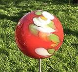 Rosenkugel auf Stab Glas Gartenstecker handgefertigte Glaskunst Gartenkugel