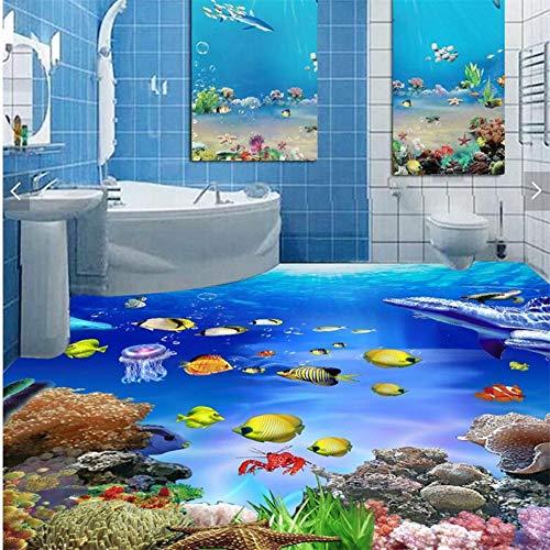 Große Benutzerdefinierte 3D Selbstklebende Wasserdichte Boden Aufkleber Meer Welt Badezimmer Badezimmer 3D Stereo Boden Film, 200 * 140 Cm - Wasserdicht Meeres Stereo