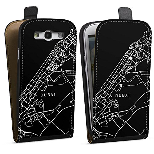 DeinDesign Tasche kompatibel mit Samsung Galaxy S3 Flip Case Hülle Dubai Karte Stadt -