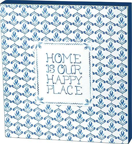 Primitives by Kathy Box Zeichen zu Hause ist unsere glücklicher Ort Wohnkultur Blau Weiss