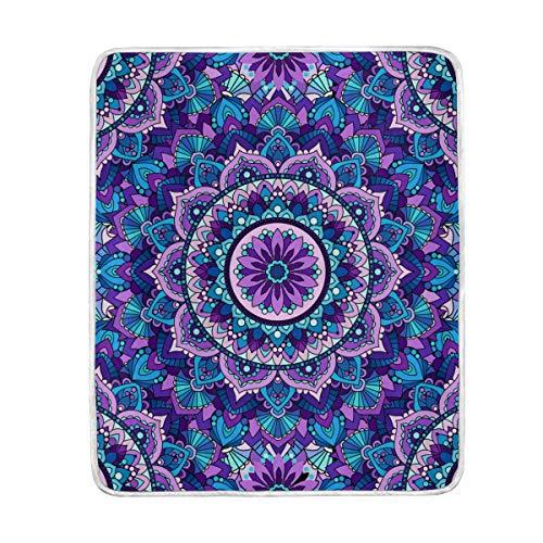 DOSHINE Überwurfdecke, Mandala, Violette Blumen, weich, leicht, Warmer Decken, 127 x 152 cm, für Sofa, Bett, Stuhl, Büro