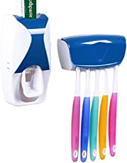 Harikrishnavilla Plastic Automatic Toothpaste Dispenser Squeezer and Toothbrush Holder with Case, Standard (Multicolour, 1101-b)