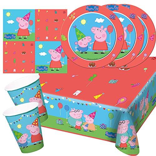 t Peppa Wutz - Pig - Teller Becher Servietten Tischdecke für 8 Kinder ()