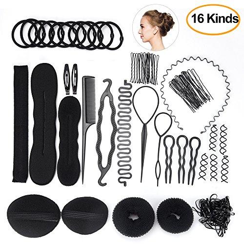 FEPITO Haar Styling Design Zubehör Set Haar Modellierung Tool Kit Spirale Haarknoten Maker Braid Werkzeug für Mädchen Frauen Mode Haar Design DIY (Haar-design-kit)